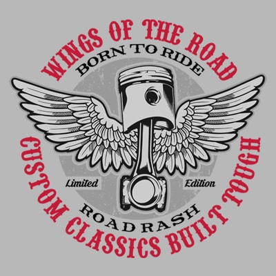 WINGS OF THE ROAD print ready shirt design