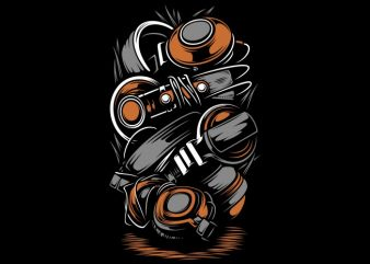 headphones vector shirt design