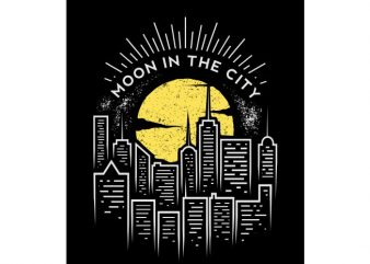 moon in the city vector t-shirt design for commercial use