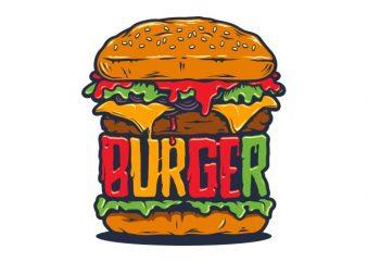 Burger vector t shirt design for download