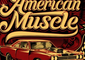 American muscle t shirt vector