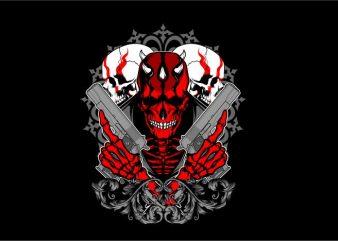 Skull Hand Gun t-shirt design png