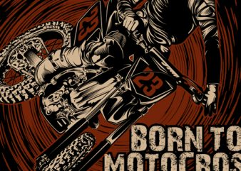 Born to motocross forced to work tshirt design vector
