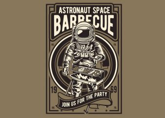 Astronaut Space Barbeque vector t shirt design for download