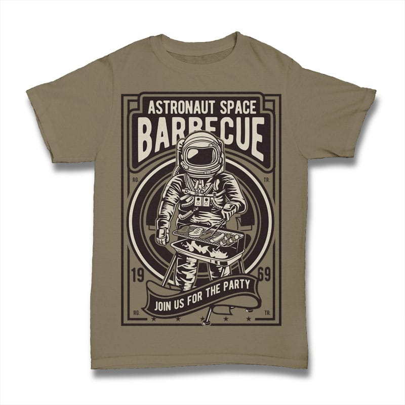 Astronaut Space Barbeque t shirt design png