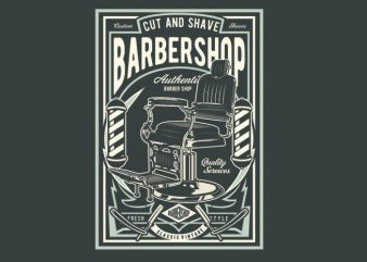 Barbershop vector t shirt design for download