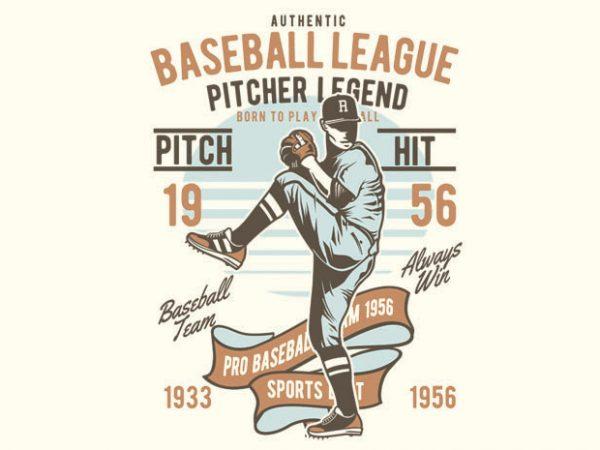 Baseball League vector t-shirt design template