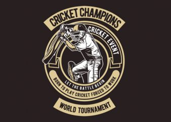 Cricket Champions t shirt vector file