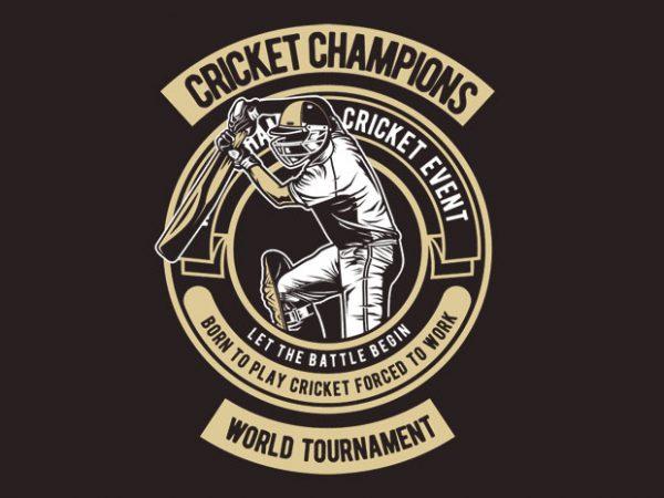 Cricket Champions t shirt vector file