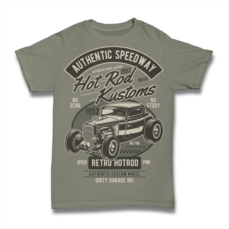 Hot Rod Kustoms t shirt designs for print on demand