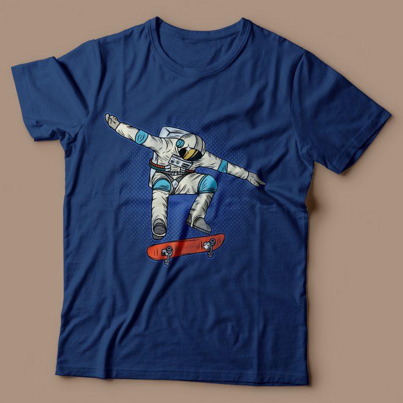 Astronaut on the skateboard. Vector T-Shirt Design vector t shirt design