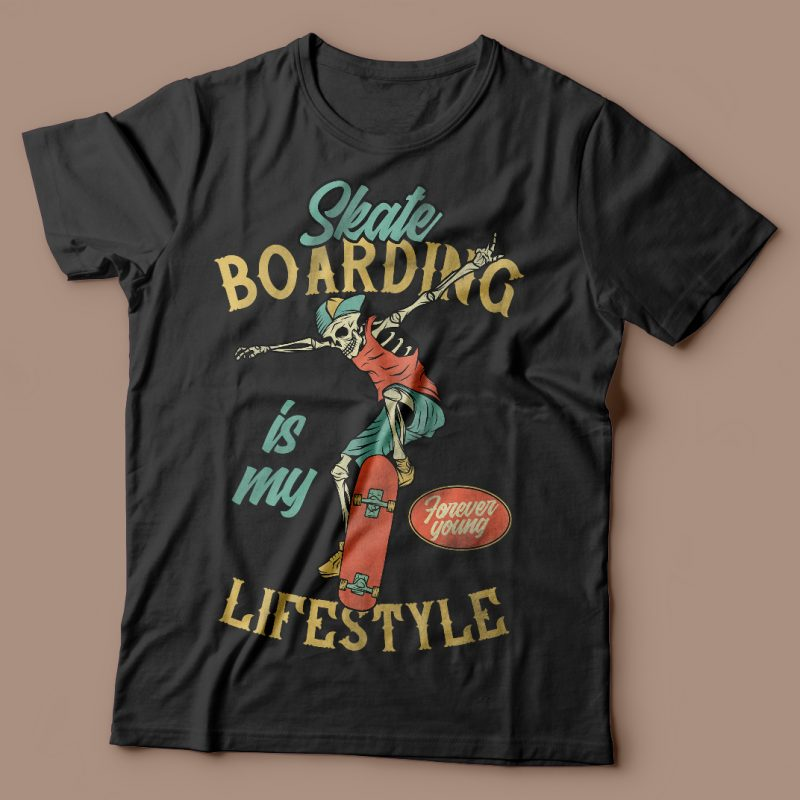 Skateboarding is my lifestyle vector t-shirt design t shirt designs for printful