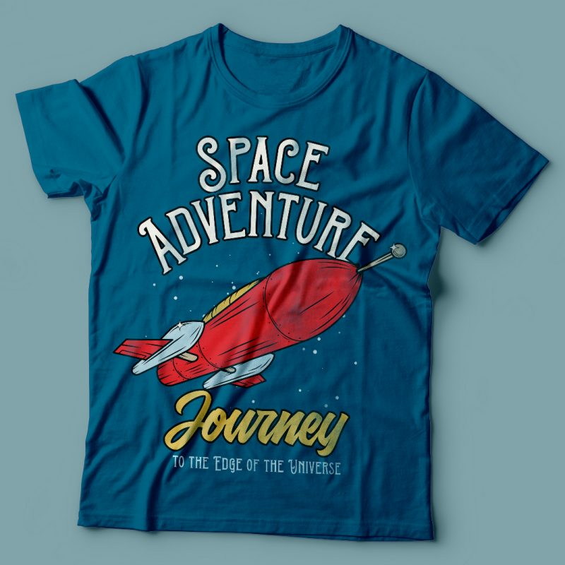Space adventure. Vector T-Shirt Design tshirt factory