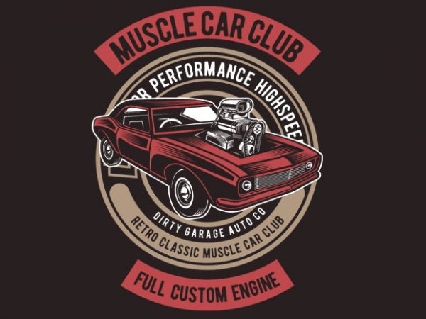 Muscle Car print ready vector t shirt design