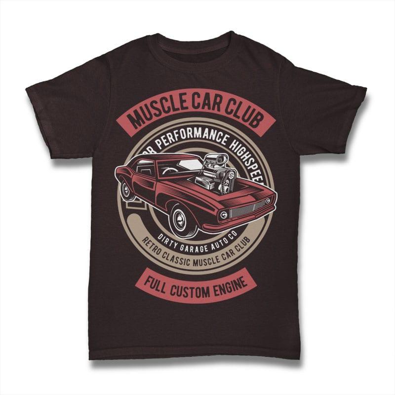 Muscle Car t shirt designs for printful