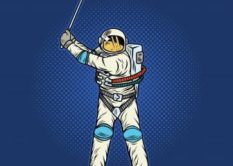 Astronaut playing golf. Vector T-Shirt Design