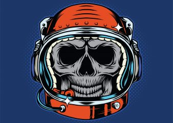 Astronaut skull helmet. Vector T-Shirt Design