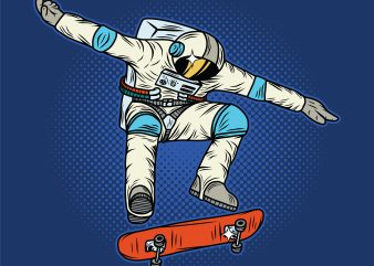 Astronaut on the skateboard. Vector T-Shirt Design