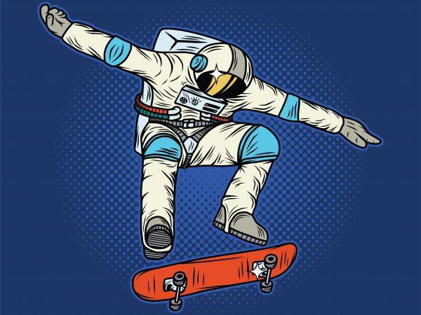 Astronaut on the skateboard. Vector T-Shirt Design