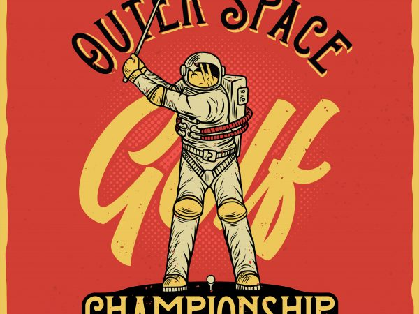 Outer Space golf championship. Vector T-Shirt Design