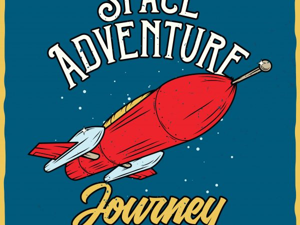 Space adventure. Vector T-Shirt Design