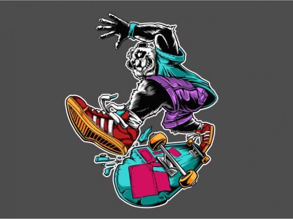 Panda Skateboard graphic t-shirt design