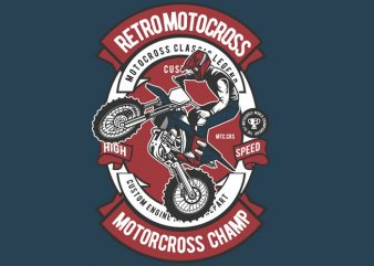 Retro Motocross vector t-shirt design