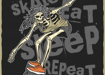 Skate. Eat. Sleep. Repeat. Vector t-shirt design