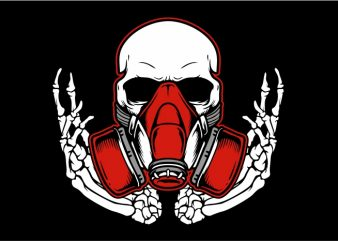 Skull Wearing Mask t shirt template vector
