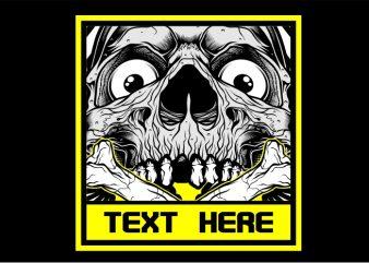 Smiling Skull t shirt template vector