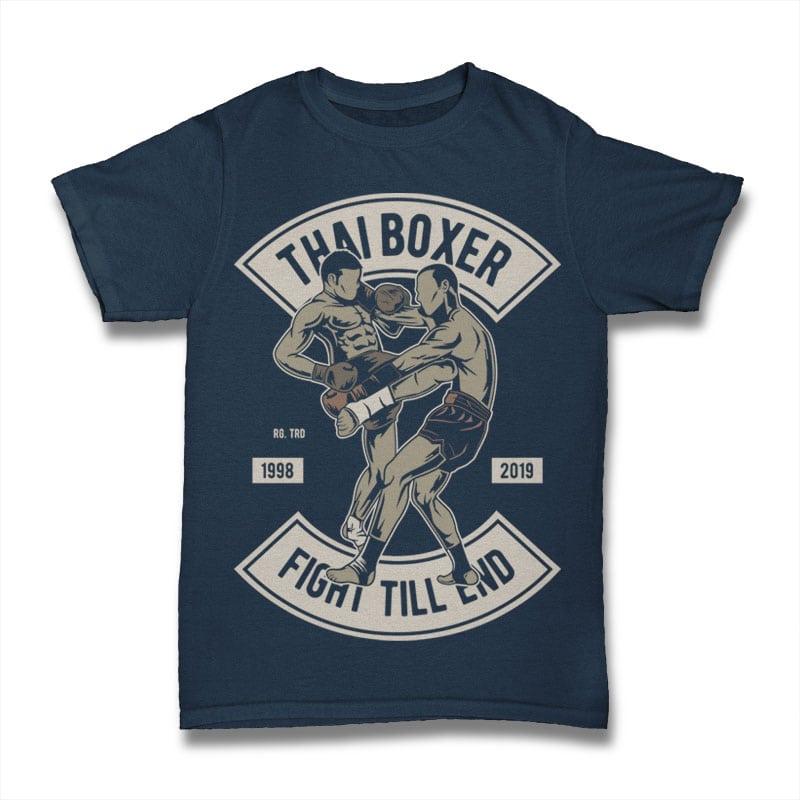 Thai Boxer t shirt design graphic