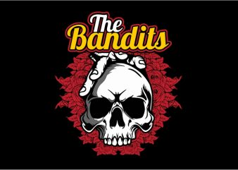 The Bandit Skull vector t shirt design for download