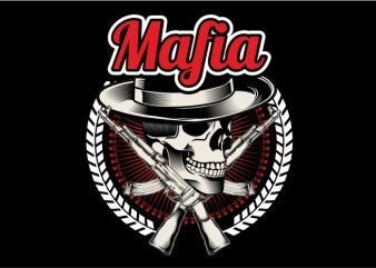The Mafia Skull with Riffle vector t-shirt design template