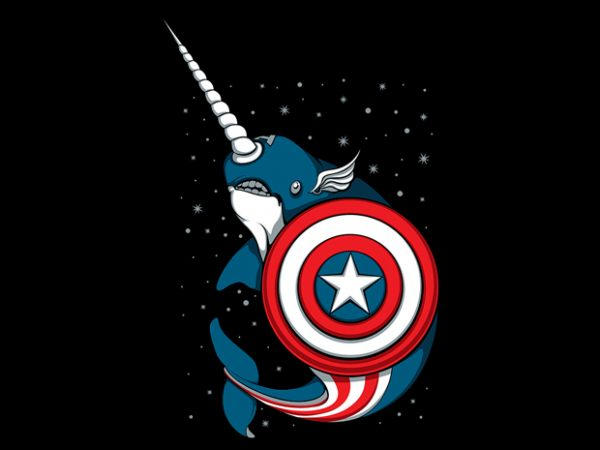 Captain Narwhal buy t shirt design for commercial use