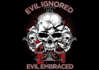 Evil Skull tshirt design vector