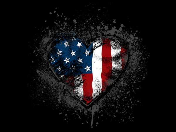 I heart stars and stripes t shirt design for sale