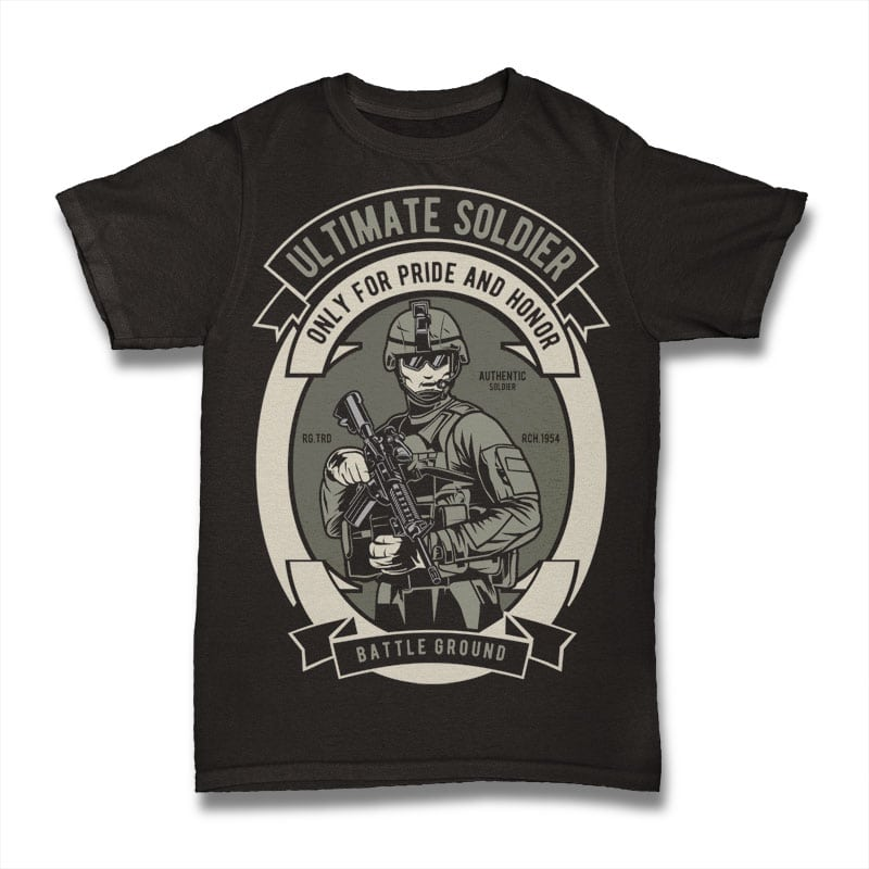 Ultimate Soldier t shirt designs for printful