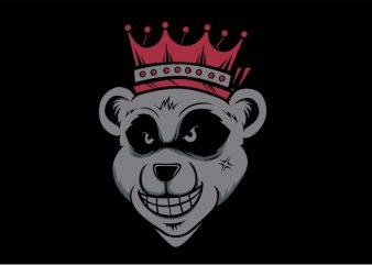 Bear King tshirt design vector