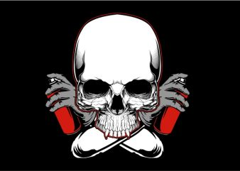 Skull with Color Spray vector t-shirt design template