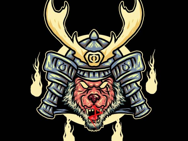 samurai wolf tshirt design