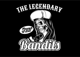 Lagendary Skull Bandit t shirt vector graphic
