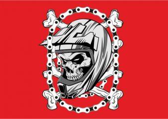 Skull Helmet with Chain t shirt template vector