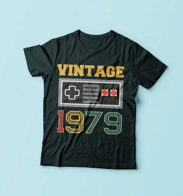 Vintage Gamer 1979 t shirt designs for merch teespring and printful