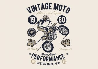 Vintage Moto t shirt vector art