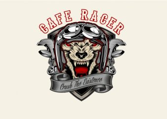 Wolf Cafe Racer t shirt design for sale