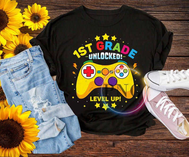 1st Grade Unlocked Level Up Kindergarten Pre-K T shirt tshirt design for sale