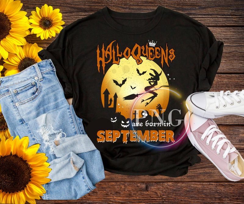 Halloqueens are born in september T shirt PNG t shirt design graphic