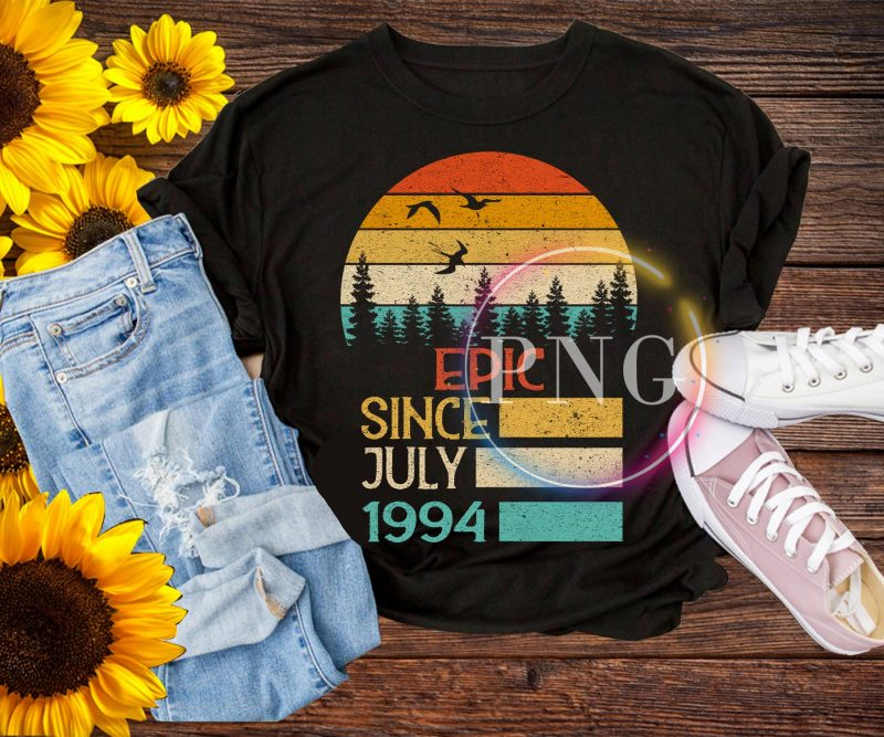 Vintage Birthday design PNG – Epic since July 1994 t shirt designs for printful