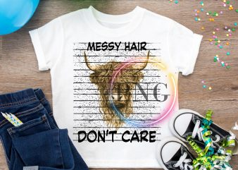 Messy Hair Don't Care Cow Heifer T shirt Design PNG