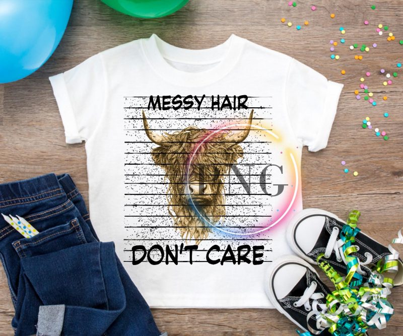 Messy Hair Don't Care Cow Heifer T shirt Design PNG t-shirt designs for merch by amazon